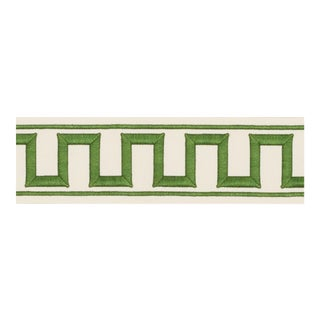 Schumacher X Miles Redd Greek Key Embroidered Tape Trim in Green For Sale