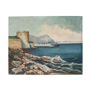 1940s French Seaside Coastline Oil Painting