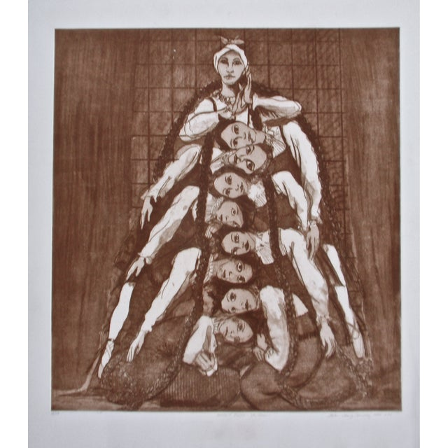 "Etching of The Oakland Ballet performing Stravinsky's ""Les Noces."" Signed and dated lower right, numbered 18/75."