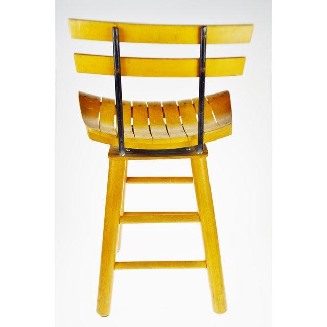 Mid Century Arthur Umanoff Style Slatted Wood Swivel Stool For Sale - Image 4 of 13