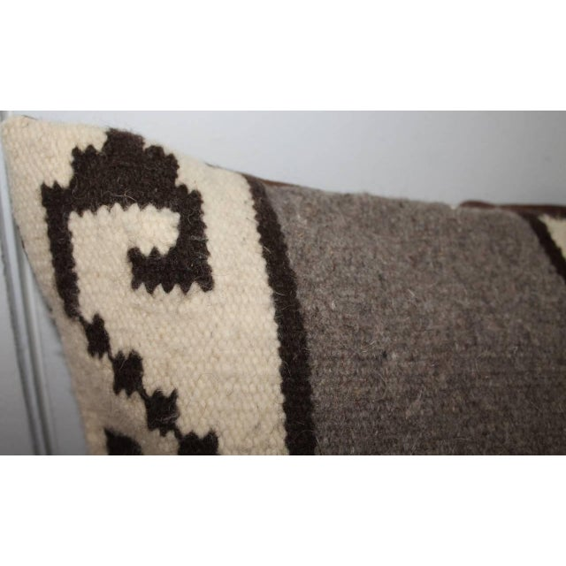 Country Mexican Indian Weaving Geometric Bolster Pillow For Sale - Image 3 of 8