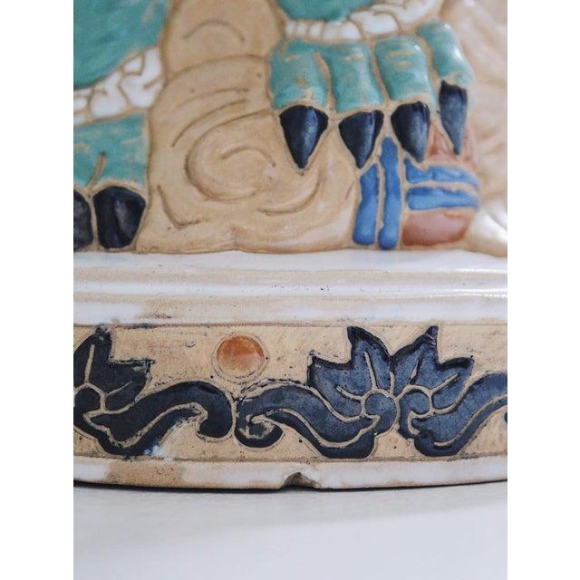 1960s Ceramic Three Sided Foo Dog Garden Stool For Sale - Image 4 of 7