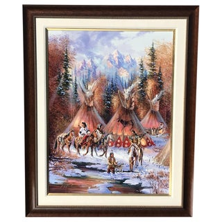 "Large ""Kirk Randle"" American Indian Painting"