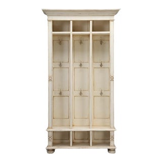 Back Hall Coat, Hat and Shoe Cubby Hole Cabinet, with Hanging Hooks For Sale