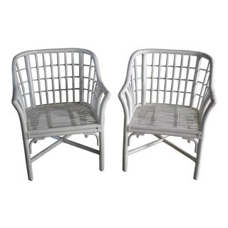 Geometric Grid Pattern Rattan Arm Chairs, a Pair For Sale