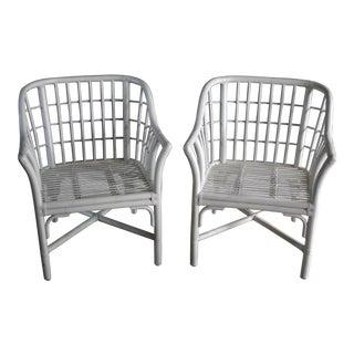 Geometric Grid Pattern Rattan Arm Chairs, a Pair