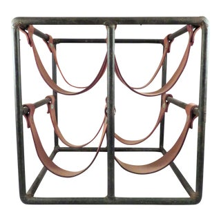 1950s Mid-Century Modern Arthur Umanoff Wrought Iron & Leather Wine Rack