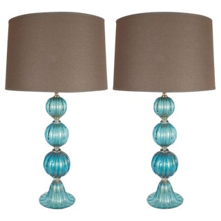 Modernist Ribbed and Banded Turquoise With 24kt Gold Flecks Table Lamps - a Pair For Sale