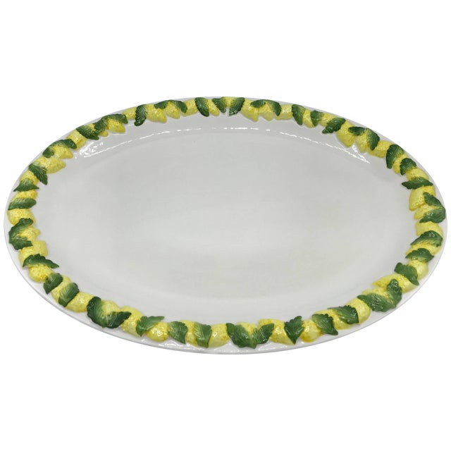 1960s Italian Ceramic Serving Tray With Sculptural Lemon Motif Border For Sale