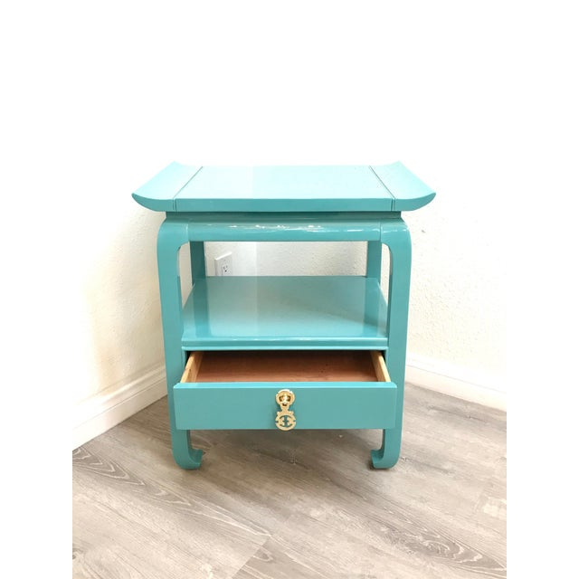 Wood Kent Coffey Turquoise Lacquered End Tables - A Pair For Sale - Image 7 of 12