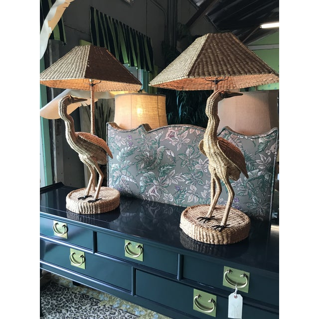 Tan Mario Lopez Torres Heron Lamps-Pair For Sale - Image 8 of 12