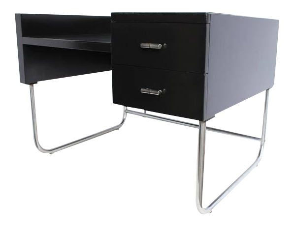 Merveilleux 1930u0027s Vintage Wolfgang Hoffmann Art Deco Black Lacquered Desk For Sale