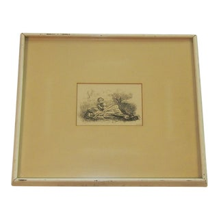 "Mid 19th Century Antique Sir John Everett Millais ""Summer Indulgence"" Black and White Etching Print For Sale"