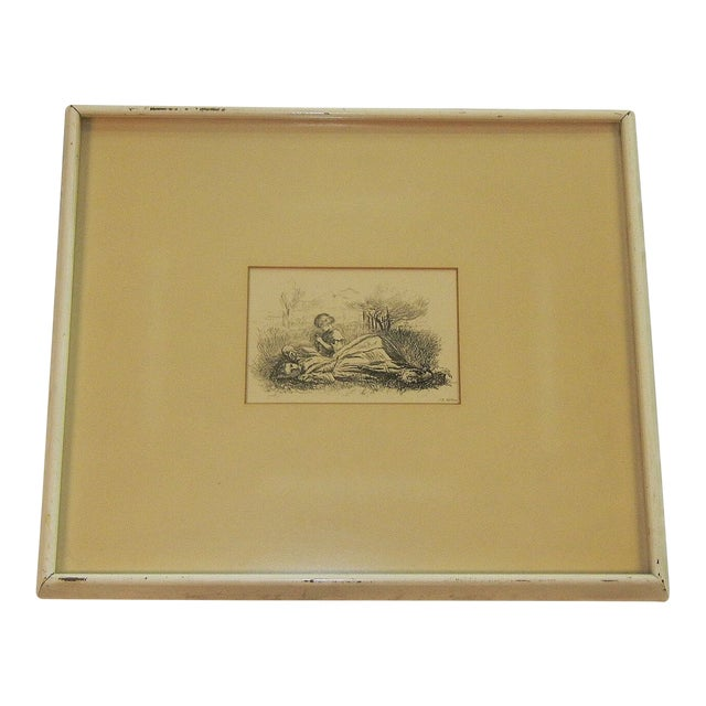 """Mid 19th Century Antique Sir John Everett Millais """"Summer Indulgence"""" Black and White Etching Print For Sale"""