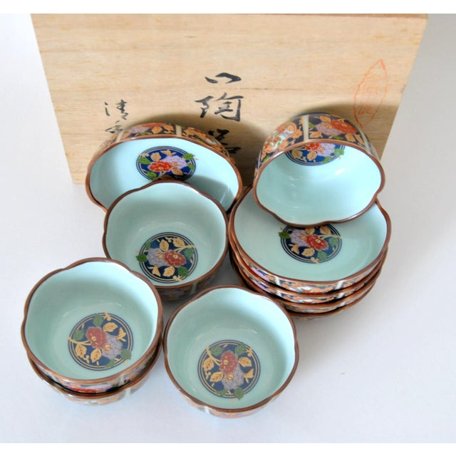 Metal Imari Cherry Blossom Tea Cups and Saucers in Hinoki Wood Box - Set of 10 For Sale - Image 7 of 9