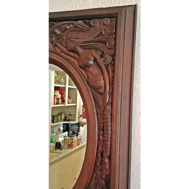 Brown 19c American Dark Walnut Wall Mirror With Mermaids - Important For Sale - Image 8 of 12