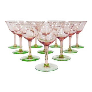 1930s Watermelon Glass Green & Pink Champagne Coupes - Set of 10 For Sale