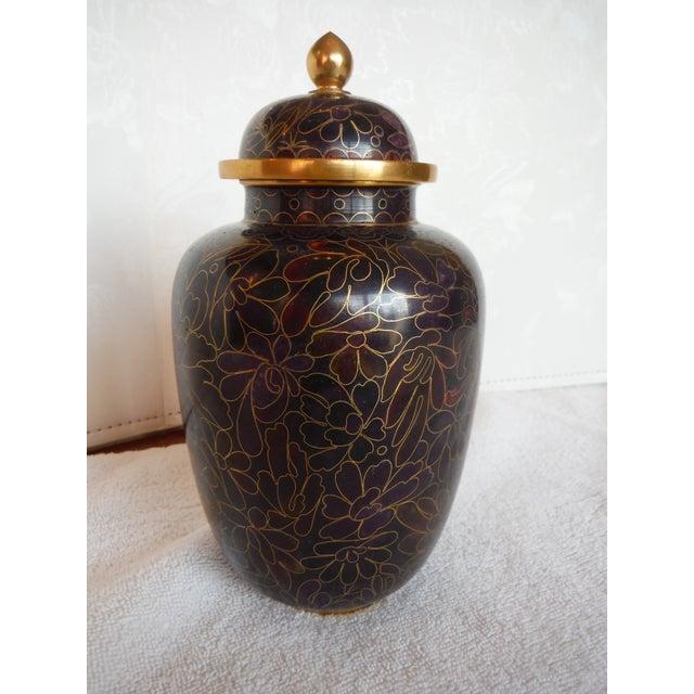 Purple & Gold Cloisonné Ginger Jars - a Pair - Image 5 of 7