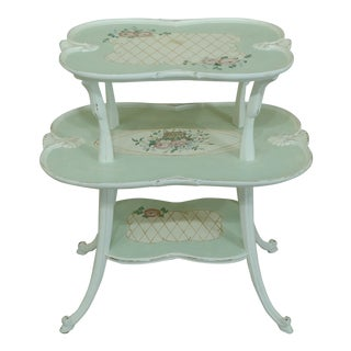 Venetian Paint Decorated 2 Tier Shabby Chic Occasional Table For Sale