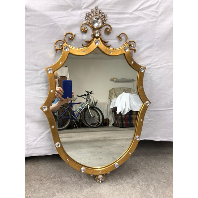 French Style Shield Mirror With Crystals For Sale In Savannah - Image 6 of 6