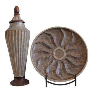 Tuscan Style Decorative Plate and Tall Urn For Sale