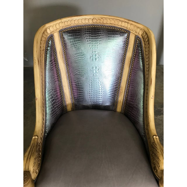 Traditional Metallic Embossed Leather and Carved Lounge Chair For Sale - Image 3 of 5