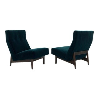 Classic Slipper Chairs by Jens Risom in Teal Mohair, Circa 1950s For Sale