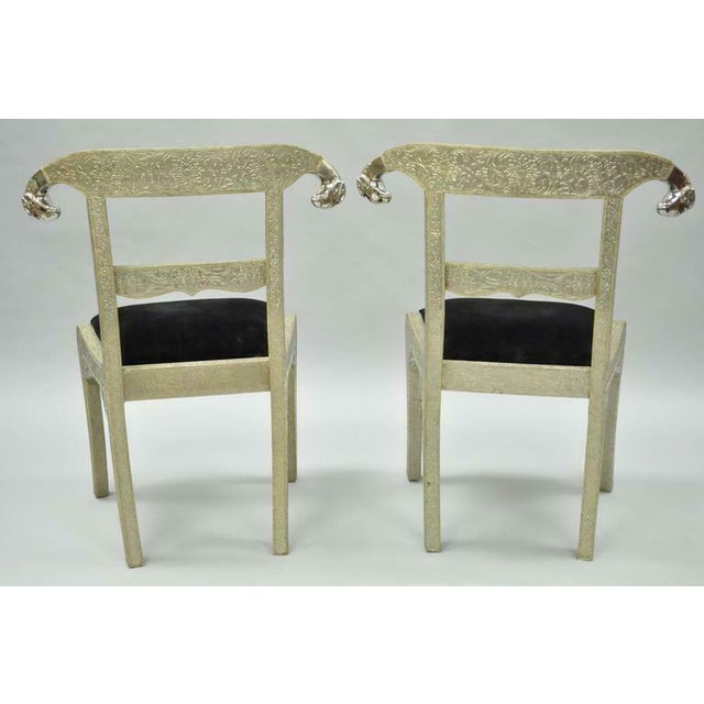 Vintage Mid Century Metal Wrapped Anglo Indian Regency Style Dowry Wedding Chairs For Sale In Philadelphia - Image 6 of 10