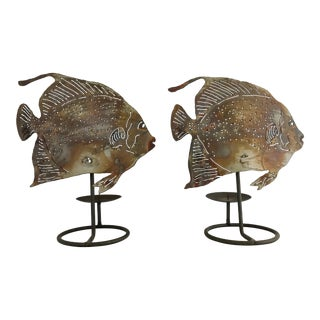 Vintage Mid-Century Brutalist Metal Fish Candle Holder - the Pair For Sale