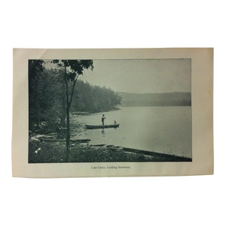"Vintage Print of an American Lake, ""Lake Carey - Looking Southwest"", Circa 1930 For Sale"
