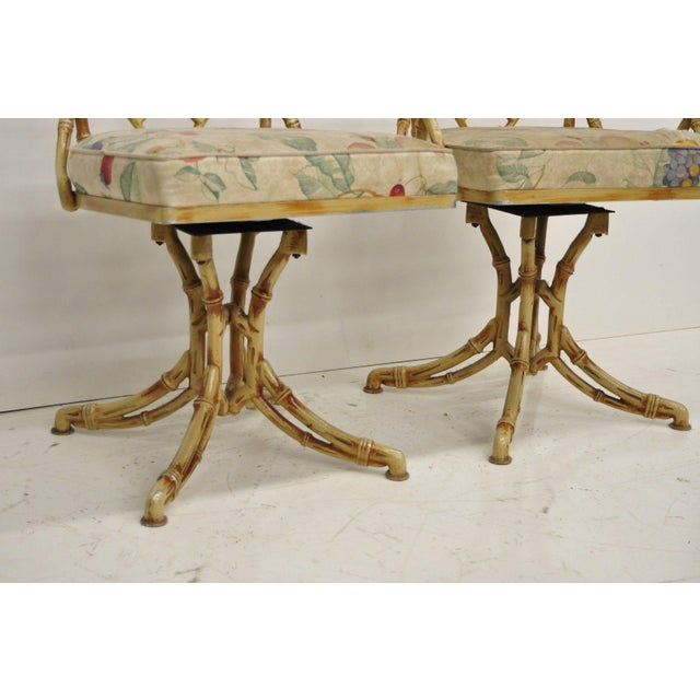 Chinese Chippendale Metal Faux Bamboo 5 Piece Dining Set For Sale - Image 4 of 13