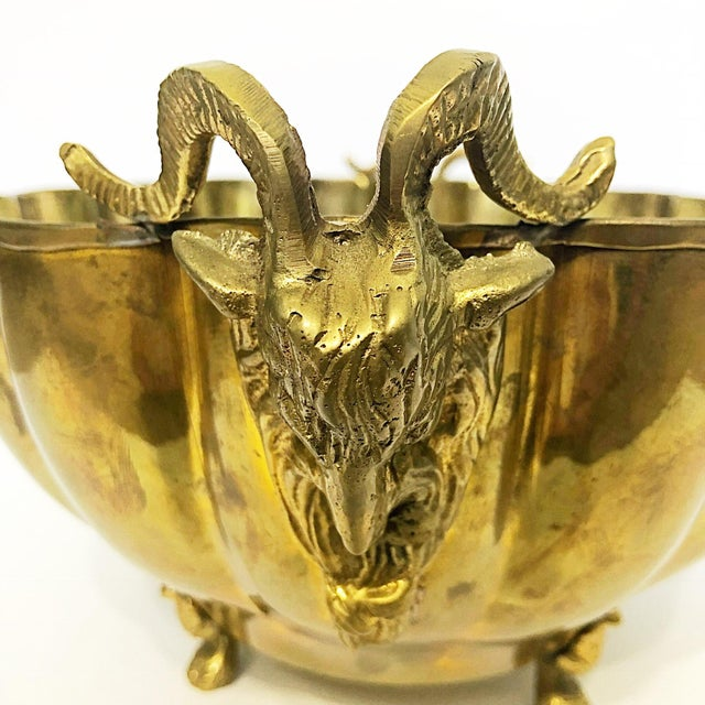 Brass Footed Ram Head Bowl For Sale - Image 5 of 8