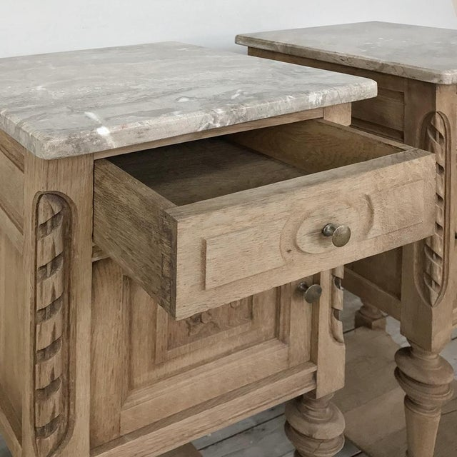 Pair Antique French Louis XVI Stripped Marble Top Nightstands For Sale - Image 9 of 12