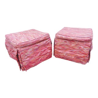 Modern Design Upholstered Footstools - a Pair For Sale