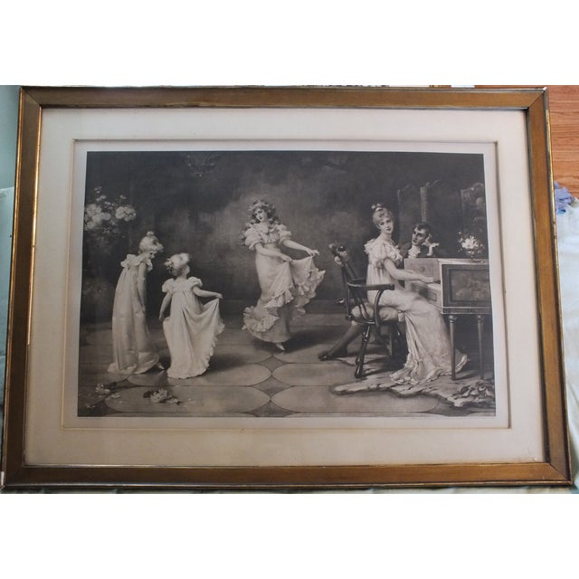 "Beautiful original antique lithograph by listed artist Maude Goodman. A charming scene of the Victorian era entitled ""When..."