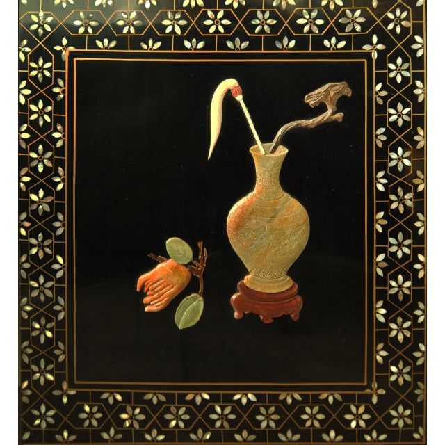 Bone Vintage Chinese 4 Panel Lacquered Hardstone Screen For Sale - Image 7 of 10