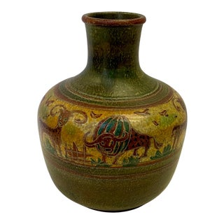 Large Beautifully Incised Italian Pottery Vase For Sale