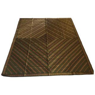 Vintage Indian Green Bed Cover Patchwork For Sale