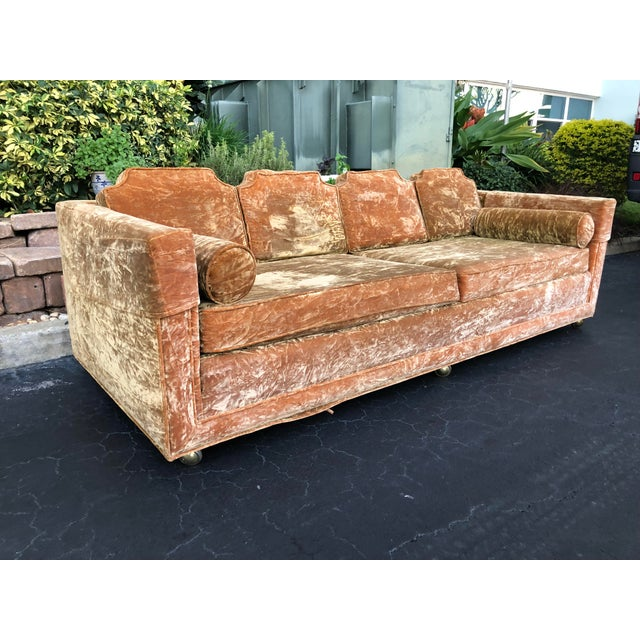 Mid Century Gold Crushed Velvet Rolling Sofa For Sale In Tampa - Image 6 of 11
