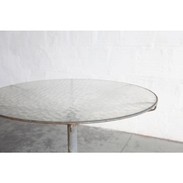 Mid-Century Modern Mid Century Modern Glass and Steel Outdoor Table For Sale - Image 3 of 4