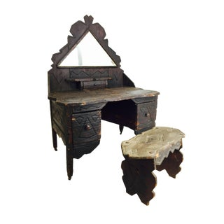 Primitive Adirondack Vanity Table and Bench For Sale