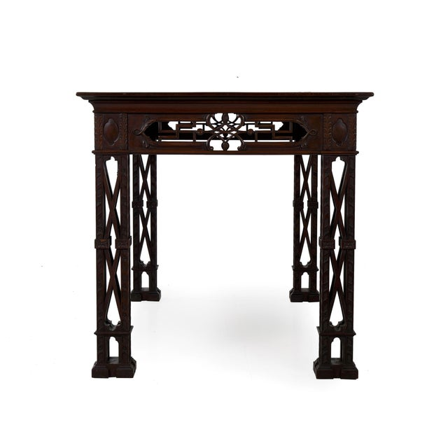 English Carved Mahogany English Antique Library Console Table For Sale - Image 3 of 13