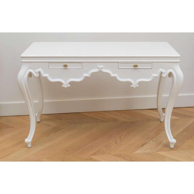 Italian Lacquered Partner Desk For Sale - Image 9 of 10
