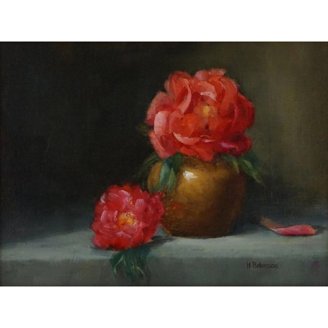"Realism Helene Robinson ""Peonies"" Oil Painting For Sale - Image 3 of 3"