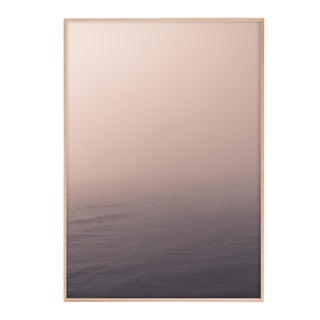 "Minimal Pale Ocean Photograph in Natural Maple Wood Frame - 32"" X 48"" For Sale"