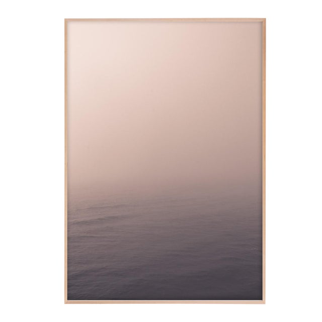 """Minimal Pale Ocean Photograph in Natural Maple Wood Frame - 32"""" X 48"""" For Sale"""