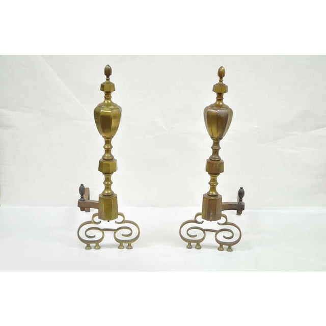 19th Century Antique Brass American Federal Fireplace Mantle Andirons - A Set For Sale - Image 10 of 11