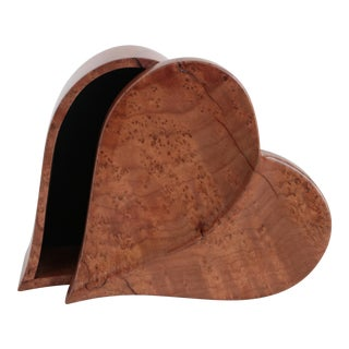 Heart Shaped Wooden Trinket Box For Sale