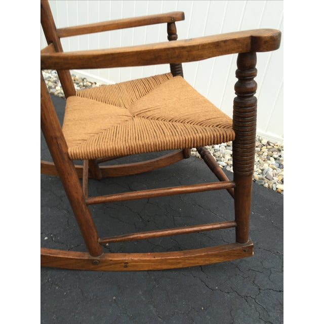 Antique Maple Rush Rocking Chair - Image 7 of 9