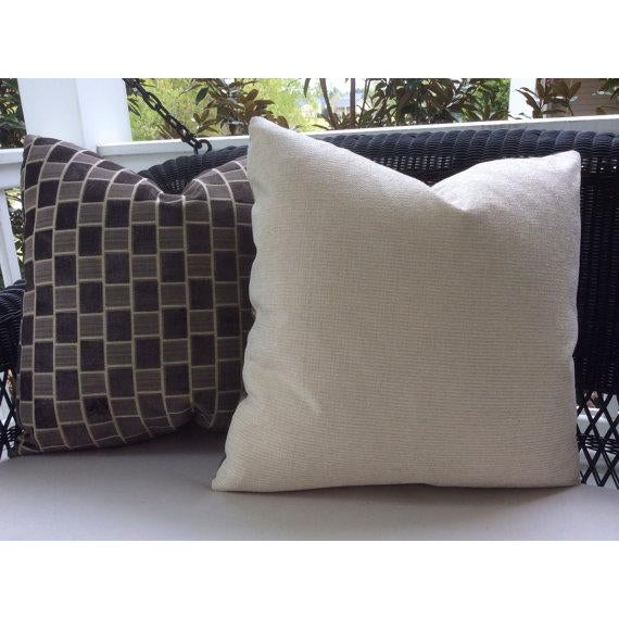 Pollack Pillows in Taupe & Gray Geometric Plush Raised Velvet - a Pair For Sale - Image 5 of 5